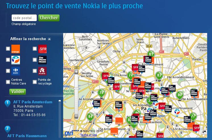 Trouvez un point de vente Nokia proche de chez vous