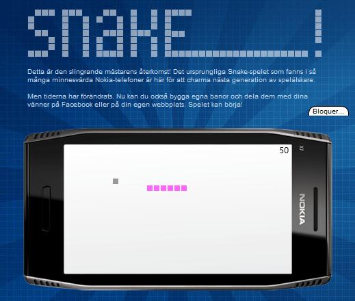Snake sur la page Facebook de Nokia Suède !