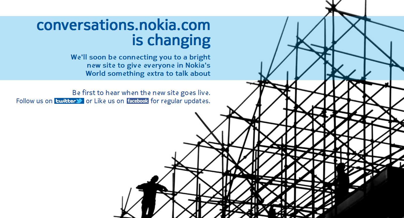 Nouveau site en préparation pour Nokia Conversations
