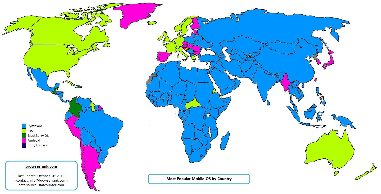 Les OS mobile les plus populaires au monde par pays