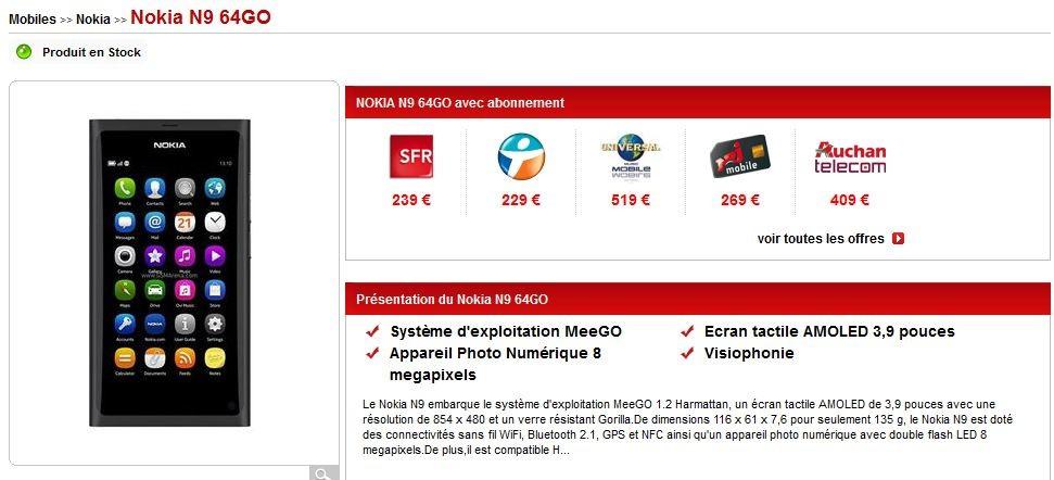 Exclusivité ! Le N9 64Go dispo en pack opérateur !