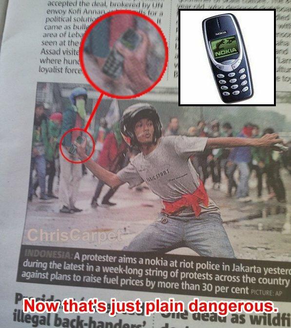 Le Nokia 3310, une arme comme une autre…