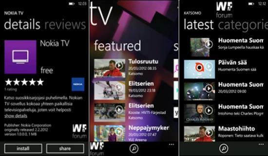 Nokia TV sur Windows Phone