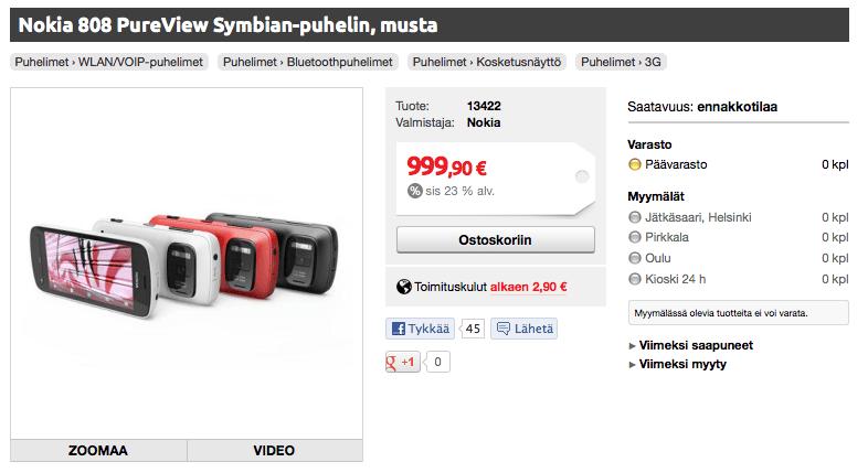 Lumia 900 et 808 Pureview en précommande en Finlande