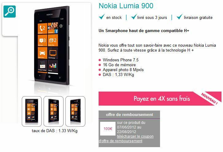 Le Lumia 900 à 339€ ? Oui, vous avez bien lu !