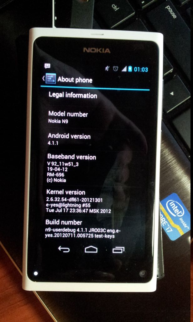 Android Jelly Bean (4.1.1) sur le Nokia N9