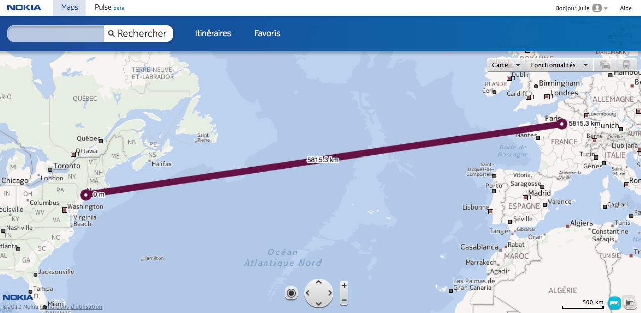 Nokia Maps : la distance à vol d'oiseau implémentée