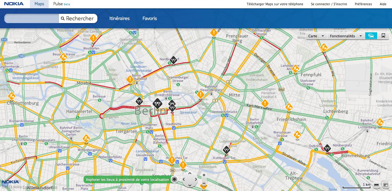 Nokia Maps prend en charge les incidents/travaux afin de vous permettre de prévoir au mieux votre parcours