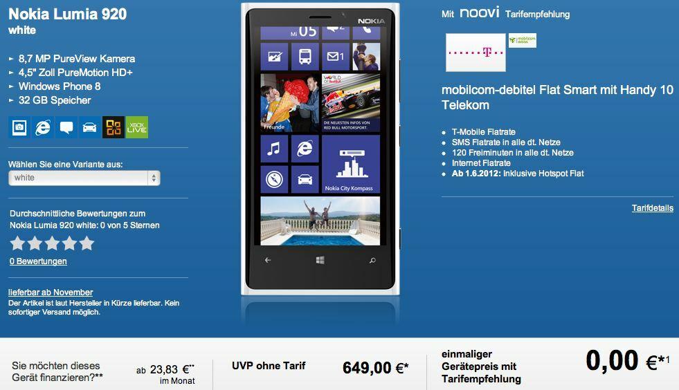 Lumia 920 disponible en pré-commande en Allemagne