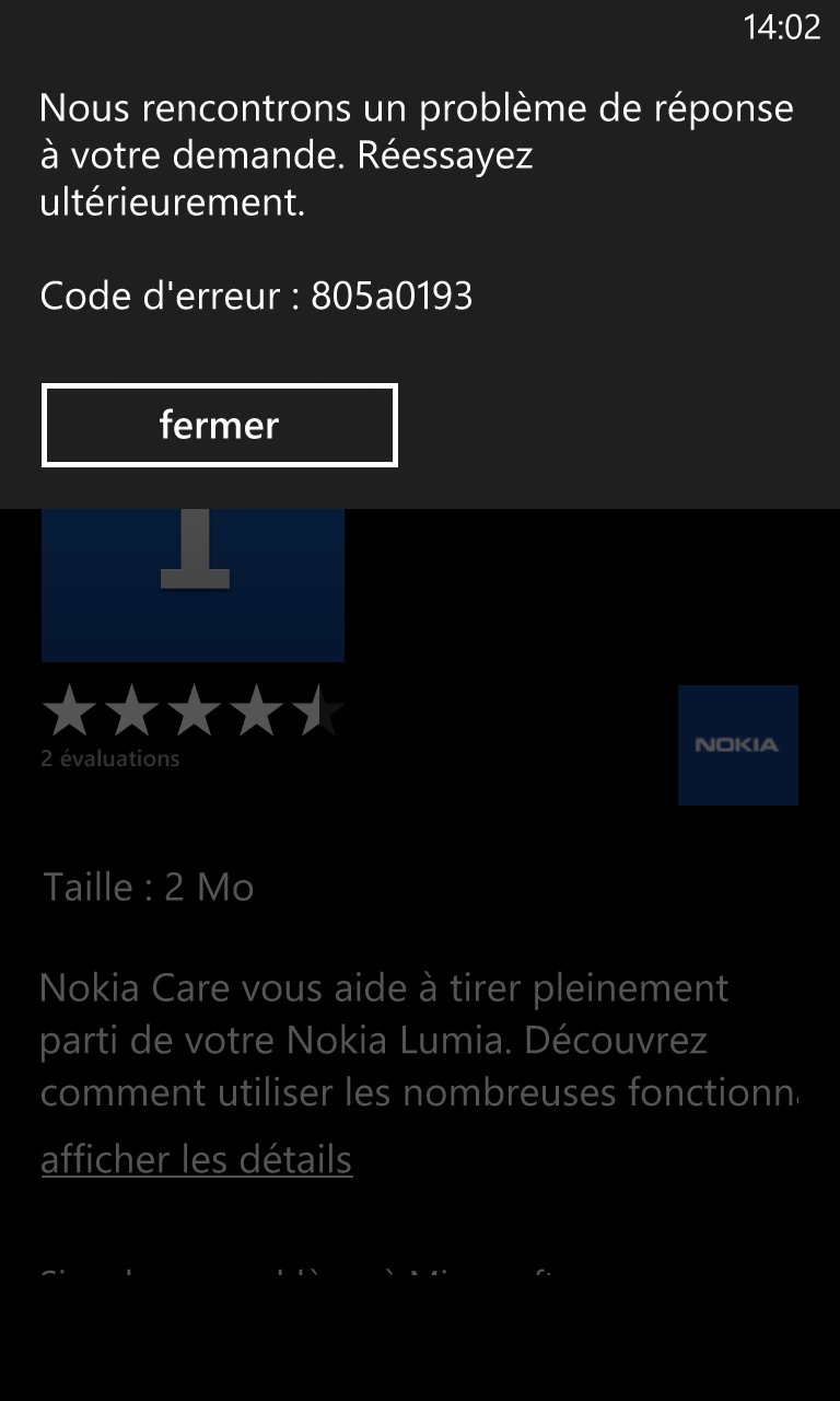 Le Windows Phone Store actuellement down