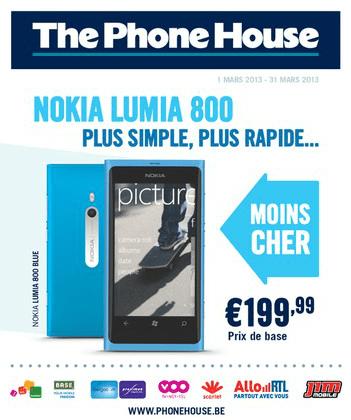 Le Lumia 800 à moins de 200€ chez ThePhoneHouse.be
