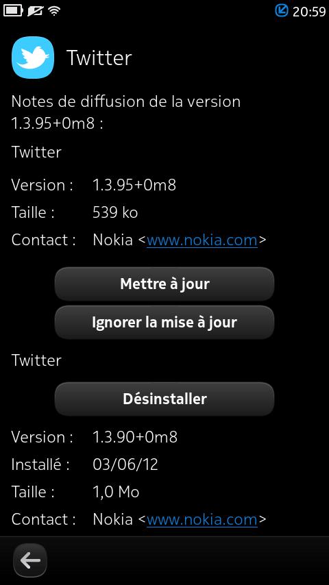 Mise à jour de Twitter en version 1.3.95+0m8 pour le Nokia N9