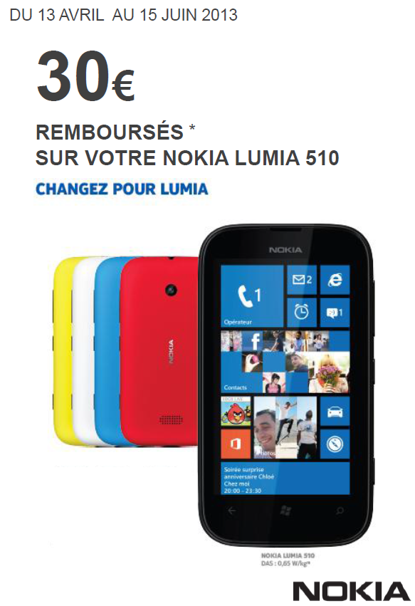 Lumia 510 : Nokia vous rembourse 30€