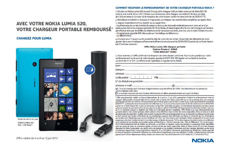 Nokia vous offre le chargeur portable pour l'achat d'un Lumia 520 pack Orange