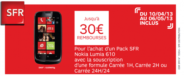 lumia 610 30 rembours s chez sfr nokians la parole aux fans de nokia. Black Bedroom Furniture Sets. Home Design Ideas