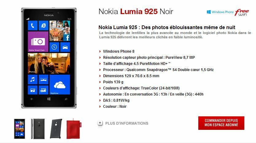 Nokia Lumia 925 + coque + Fatboy de chargement sans fil pour 549€ chez Free !