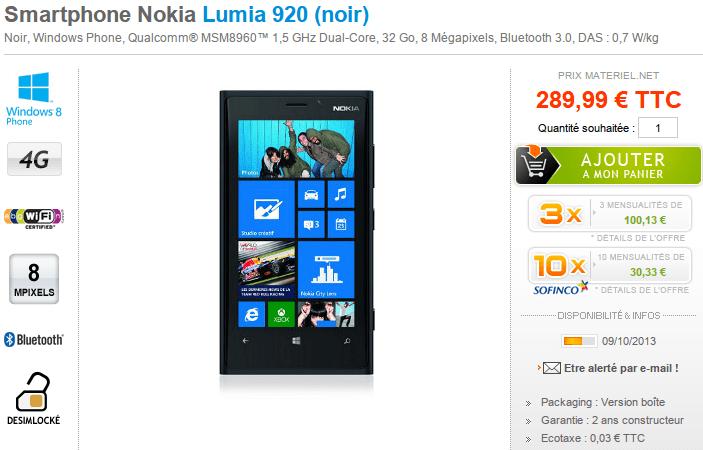 Le Nokia Lumia 920 noir à 289,99€ chez Materiel.net