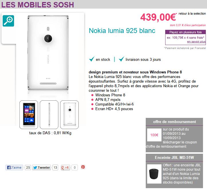 Nokia Lumia 925 à 339€ avec enceinte JBL PlayUp offerte chez Sosh