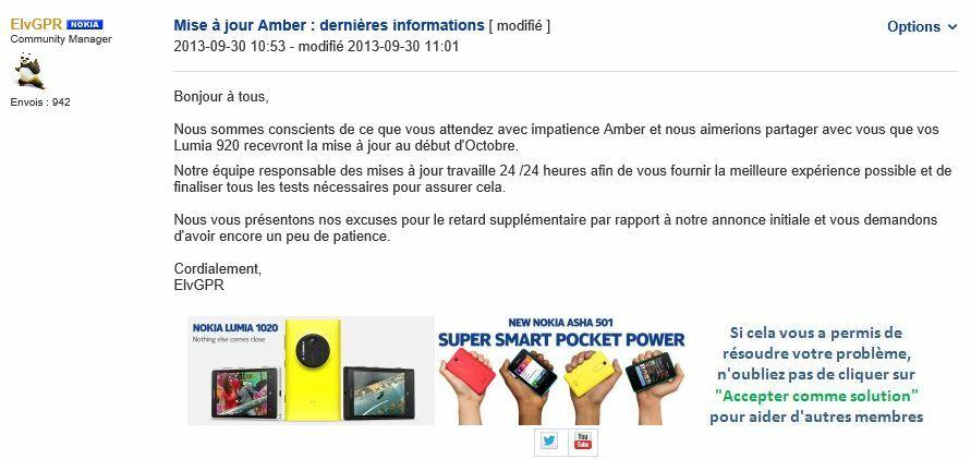 Mise à jour Amber : Nokia demande encore un peu de patience à ses utilisateurs