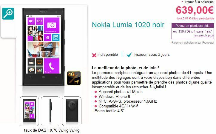 Le Nokia Lumia 1020 débarque chez Sosh pour 639€