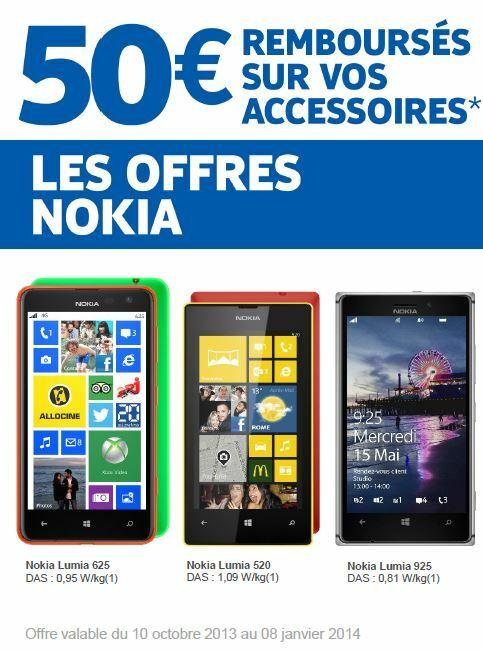 Les offres Nokia : 50€ remboursés sur vos accessoires chez Orange (Lumia 625, 520, 925)