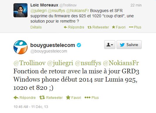 La fonction «coup d'oeil» sera de retour sur les Lumia Bouygues début 2014… avec la GDR3 !