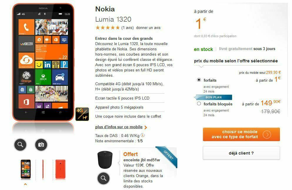 [Offre] Pour tout achat d'un Lumia 1320 Orange vous offre une enceinte JBLMD51W