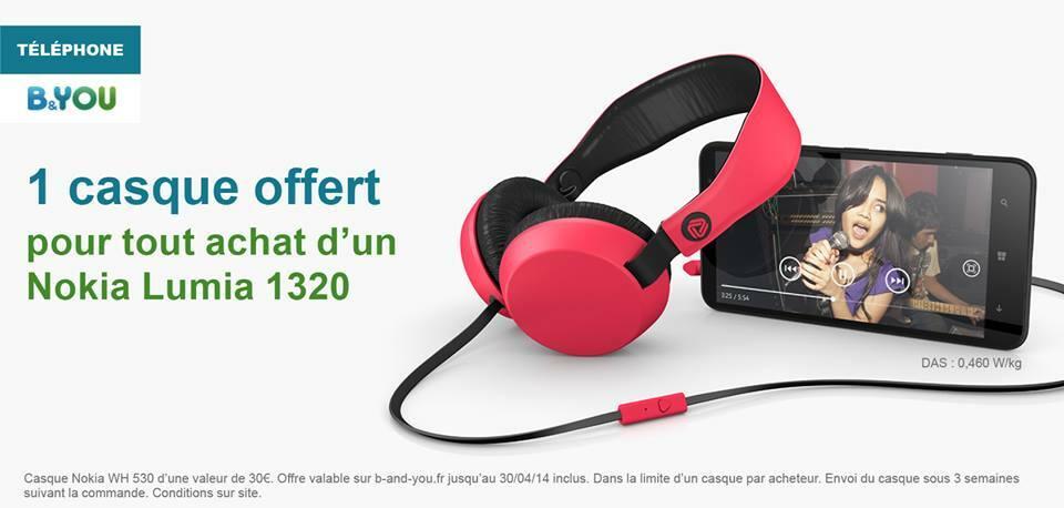 [Offre] B&YOU offre un casque WH530 Coloud pour l'achat d'un Nokia Lumia 1320