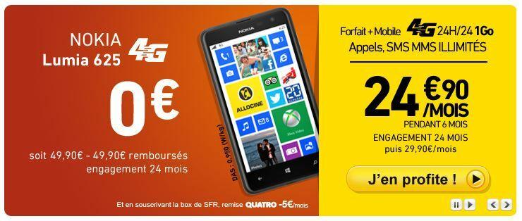 Forfait 4G et Nokia Lumia 625 offert pour 24€90 chez La Poste Mobile