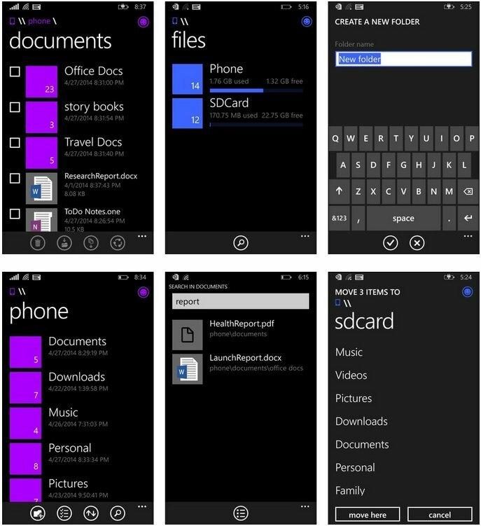 Le gestionnaire de fichiers de Microsoft pour Windows Phone s'appellera «Fichiers»