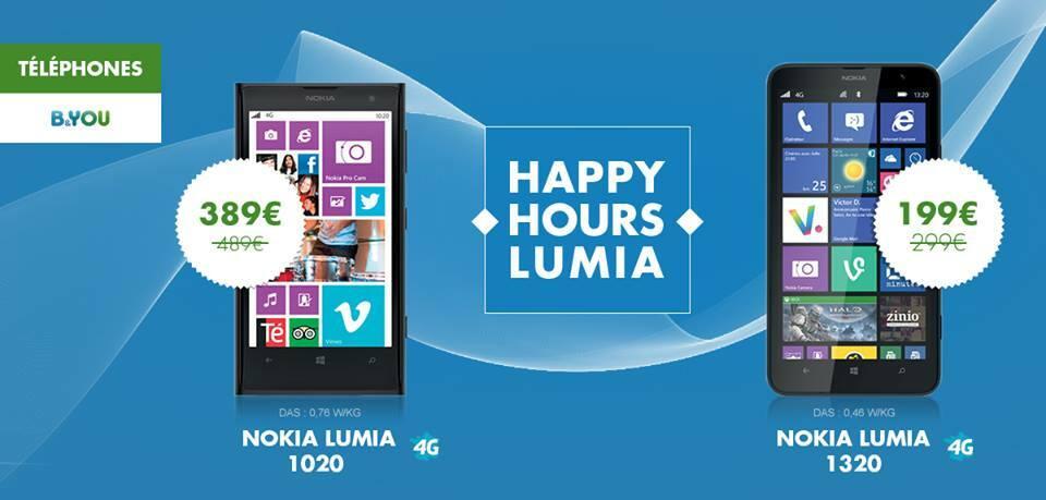 [Offre] 100€ de réduction sur le Nokia Lumia 1020 ou le Lumia 1320 chez B&You #HappyHoursLumia