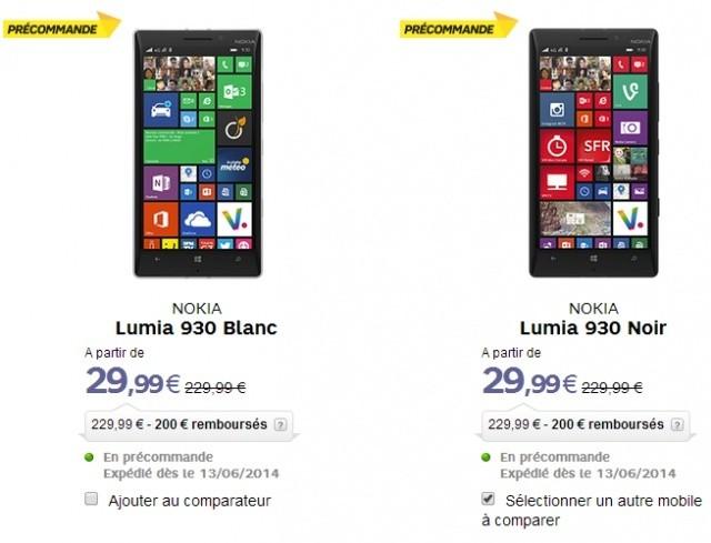 Nokia Lumia 930 en précommande chez SFR