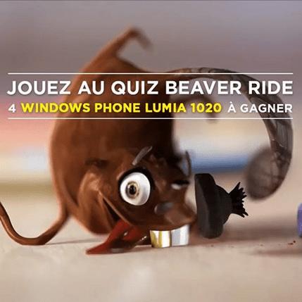Concours Nokia France : «Beaver Ride Quiz», 4 Lumia 1020 à gagner !