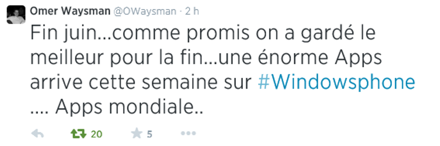 Omer Waysman fait du Teasing sur Twitter