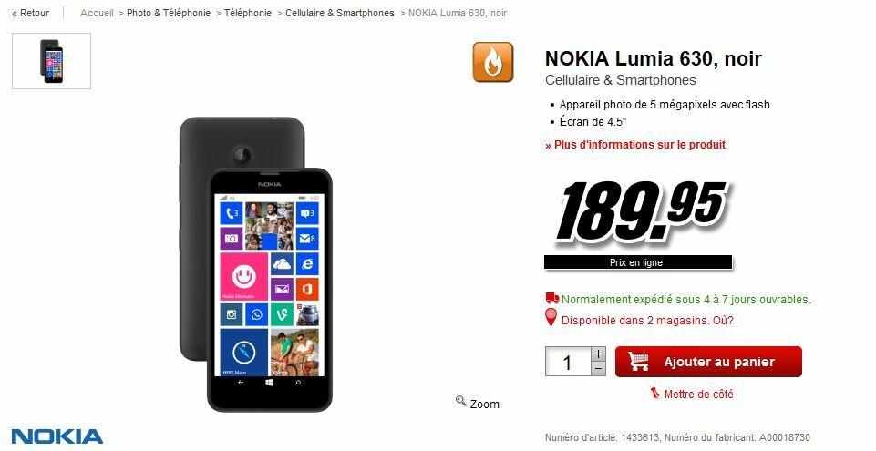 Le Nokia Lumia 630 est disponible en Suisse !