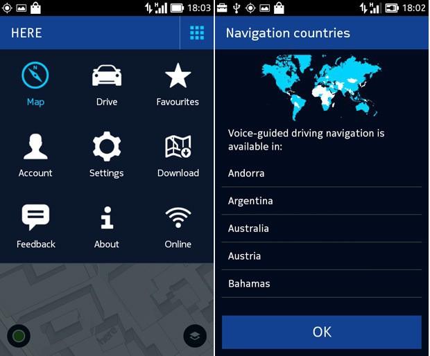Mise à jour de HERE Maps pour Nokia X avec navigation globale