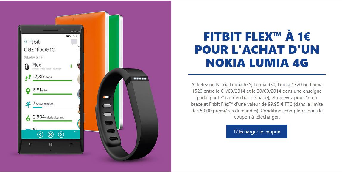 [Offre] Fitbit Flex à 1€ pour l'achat d'un Nokia Lumia 4G