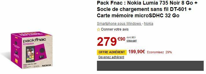 [Offre] Lumia 735 + chargeur sans fil + carte mémoire 32 Go pour 199€90