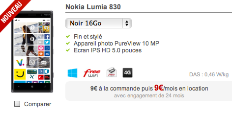 [Offre] Le Lumia 830 pour 9 euros par mois chez Free