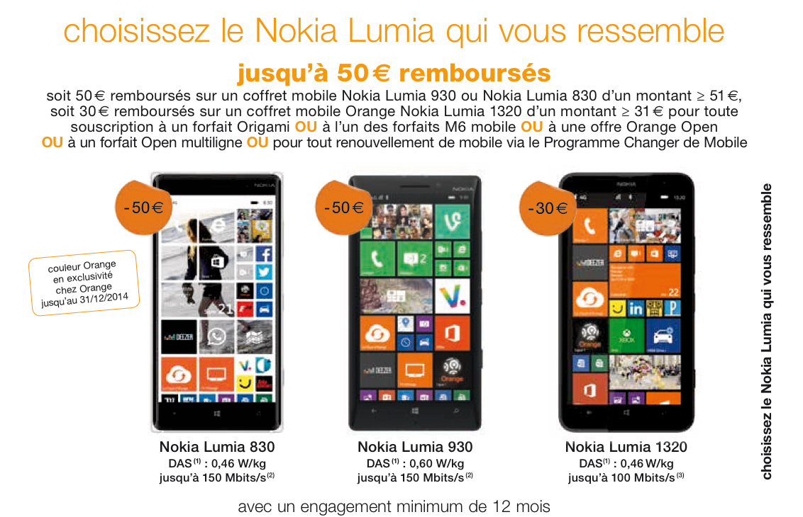 [Offre] Jusqu'à 50 euros remboursés sur votre Lumia préféré chez Orange