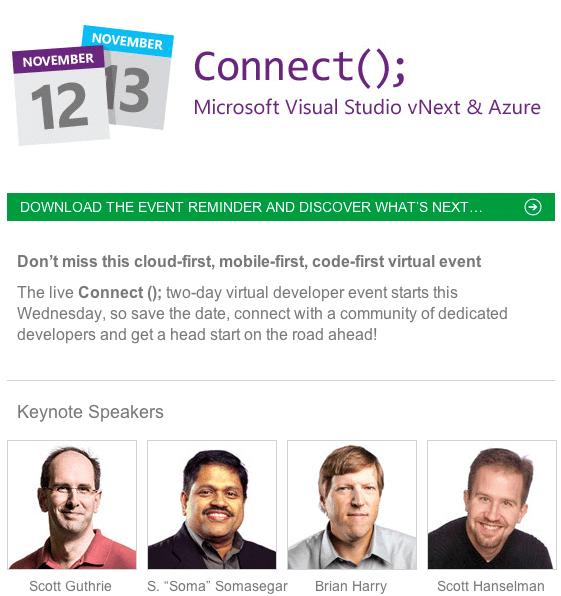 [Dev] Evénement Visual Studio vNext & Azure les 12 et 13 novembre en webcast