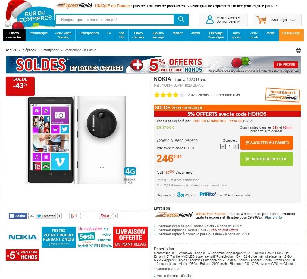 [Offre] Nokia Lumia 1020 à moins de 250 euros chez Rue du Commerce