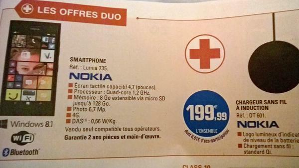 [Offre] Nokia Lumia 735 + chargeur sans fil induction pour 199€99