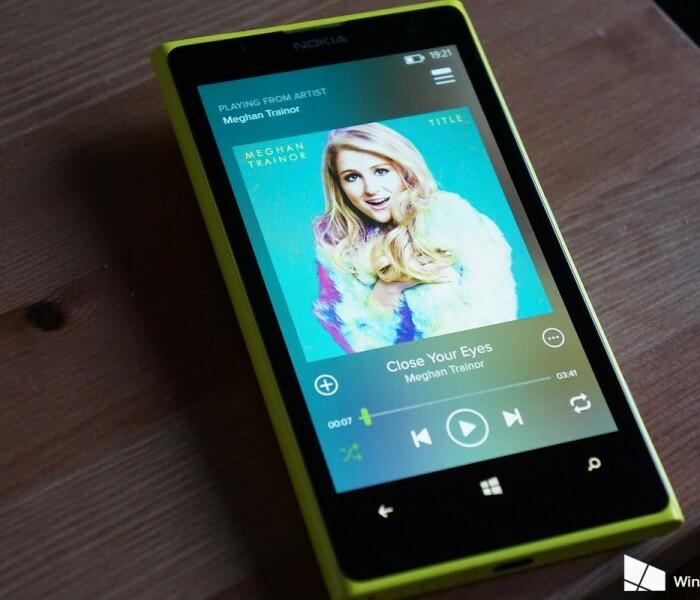 Nouvelle mise à jour de Spotify sur Windows Phone