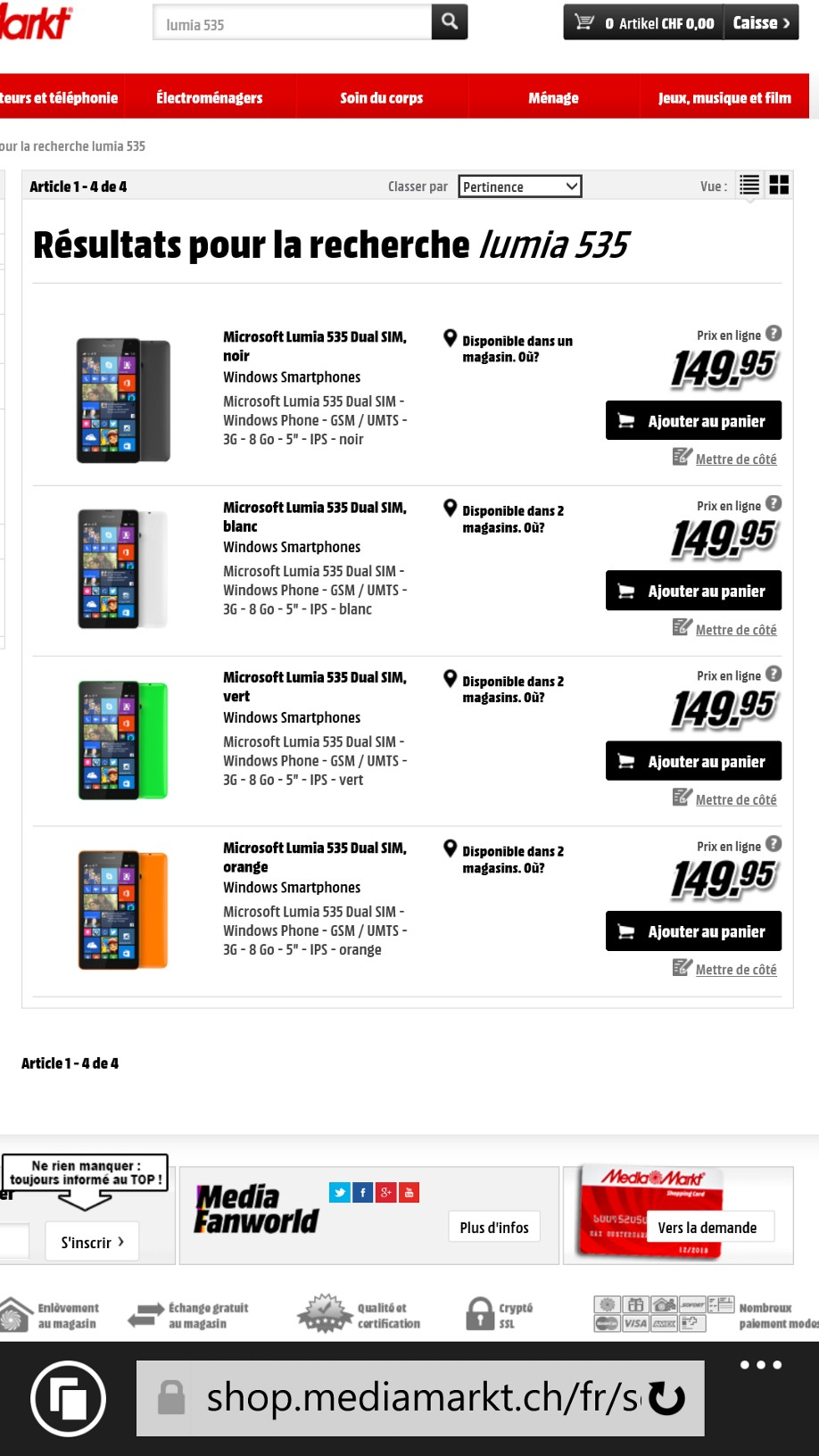 Microsoft Lumia 535 disponible en Suisse