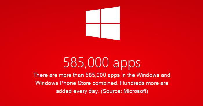 Plus de 585 000 applications dans le Windows et Windows Phone Store