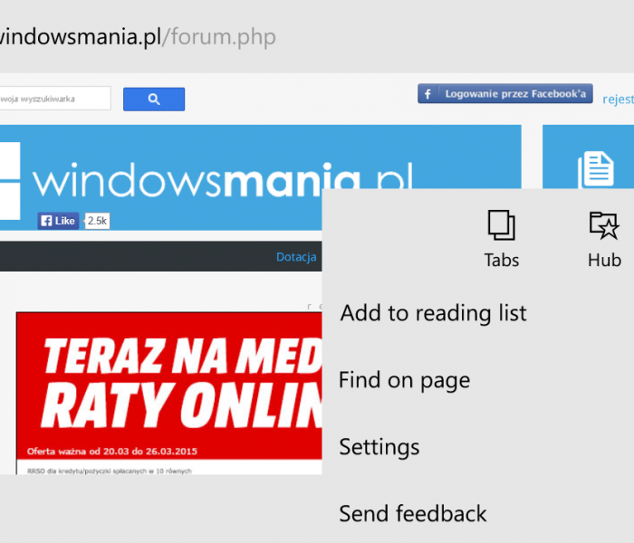 Des images du futur navigateur Spartan sur Windows phone