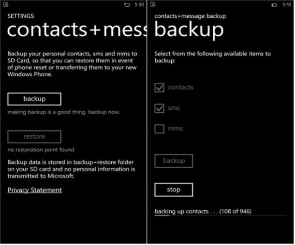Contact-backup