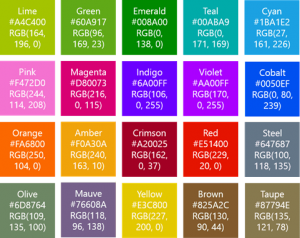 Codes couleur Windows Phone