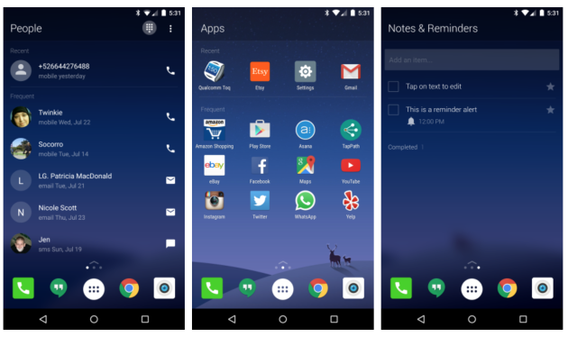 Microsoft Arrow Launcher Android Screens